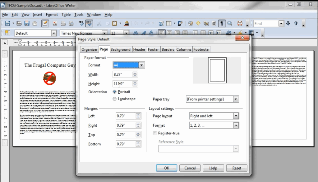 change page size in libreoffice mac
