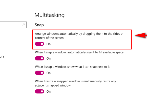 disable automatic window resizing in windows 10