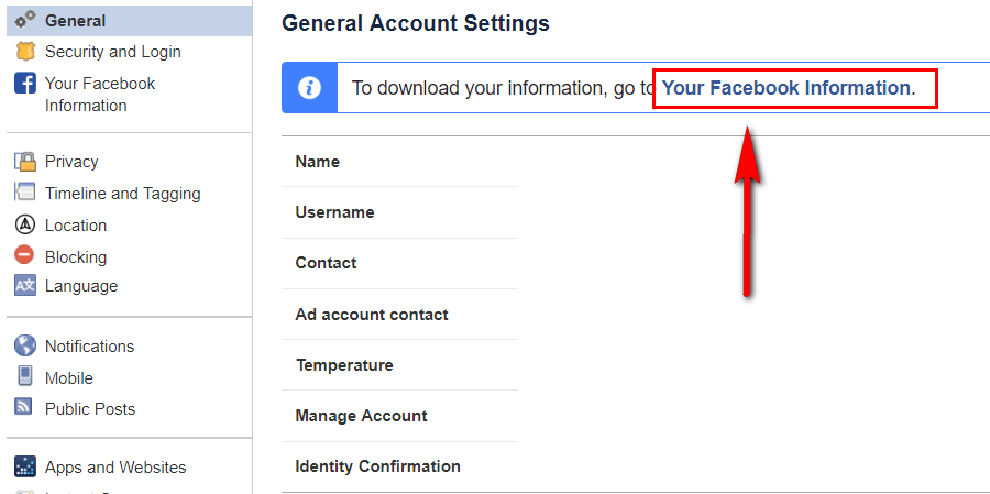 download facebook account data