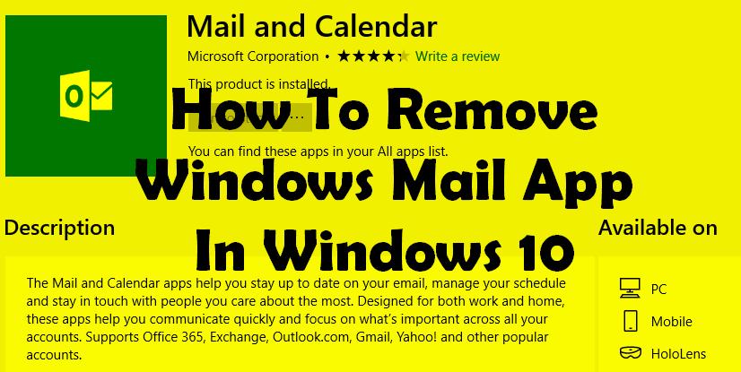 remove windows 10 mail app