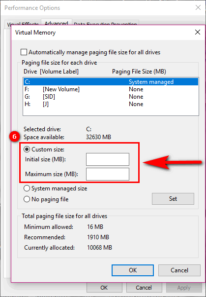 virtual memory windows 10