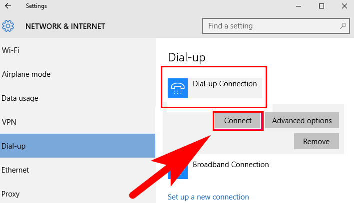 connect dialup in windows 10