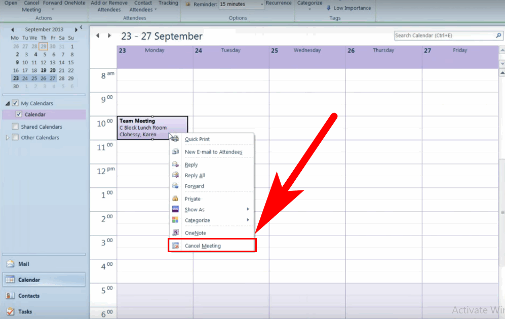 how to terminate meeting in outlook