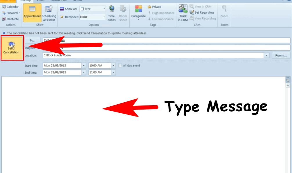 process to cancel meeting in outlook
