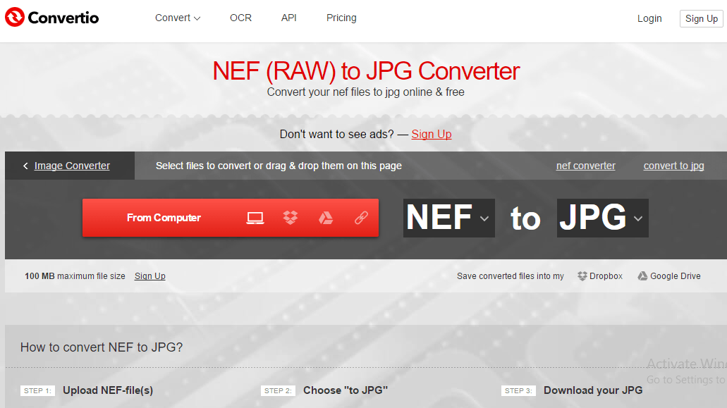 convert nef files to png