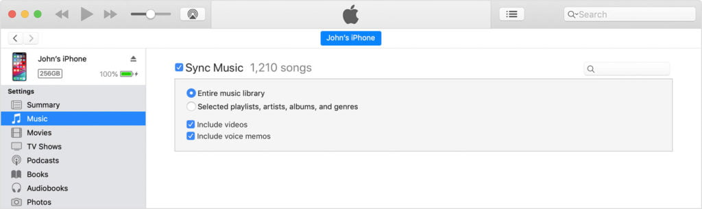 iTune Sync iPhone to Mac