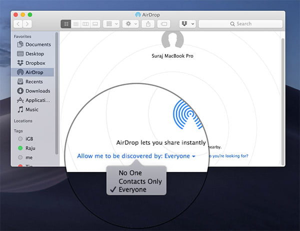Airdrop Discovred by contacts or everyone ipone to mac sync