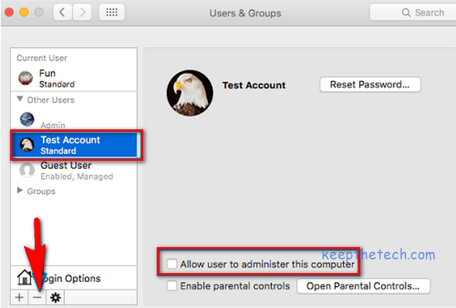 apple system preference users and groups deleting user acccount