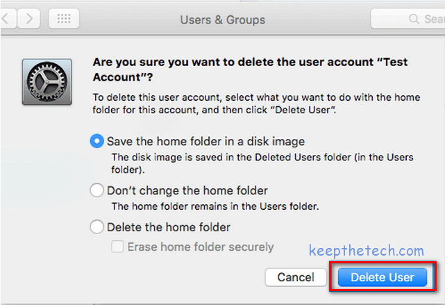 apple system preference users and groups deleting user acccount options