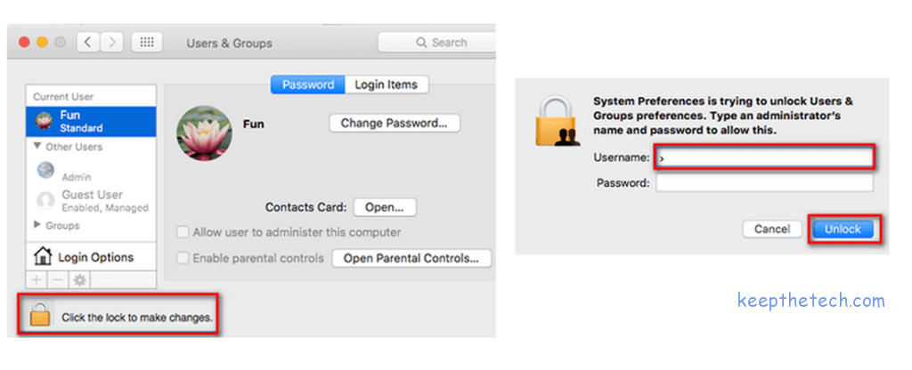 apple system preference users and groups padlock 1