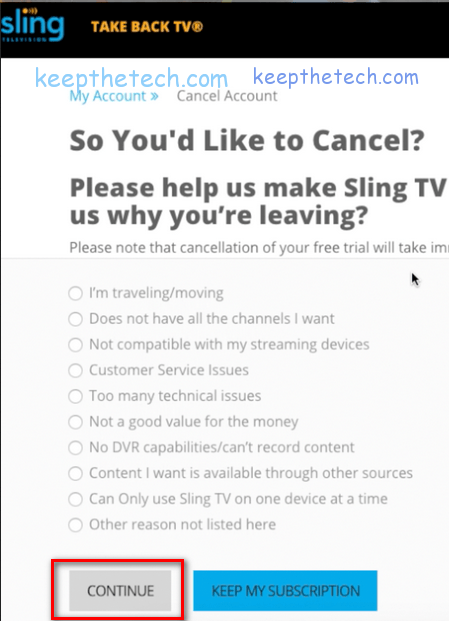 cancel sling tv 5