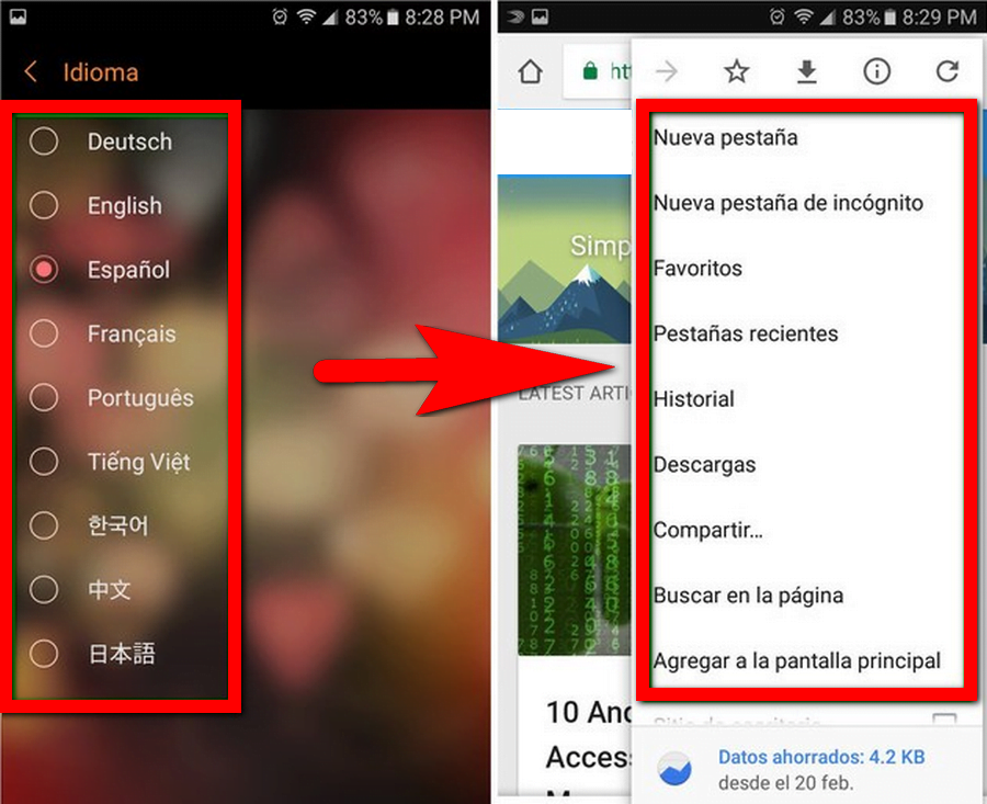 changing default system language for google chrome android