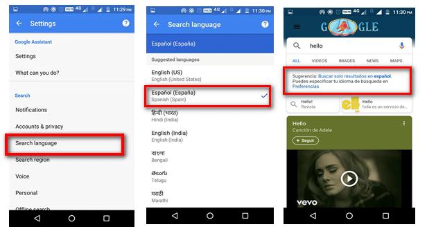 google chrome language android using google app