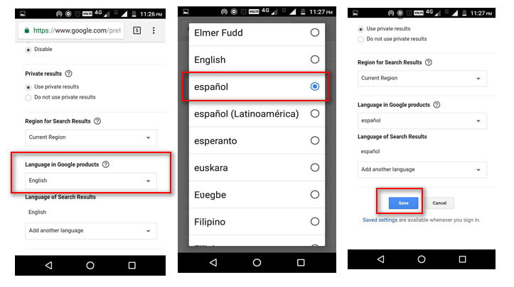 google chrome language androind changing using google search website
