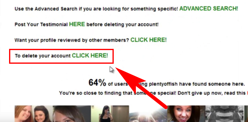 how to delete plenty of fish account